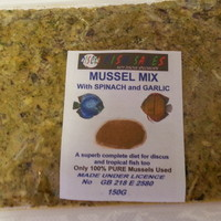 DISCUS FOOD - MUSSEL WITH ADDED SPINACH AND GARLIC NOW AVAILABLE FOR UK MAINLAND FREE DELIVERY ON 5 PACKS.