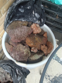 NOW �/3 large tubs of lava rock/+free larg tub of ocean sand/coral sand