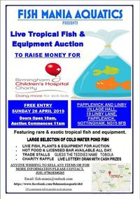 Pond and tropical fish & equipment auction for charity sunday april 28th 2019
