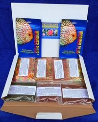 DISCUS DELIGHTS THE GOURMET FISH FOOD HAMPER. SEVEN DIFFERENT FOODS, ONE FOR EACH DAY IN EVERY PACK.