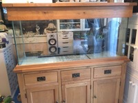 REDUCED TO �0 FROM �0/aquarium with solid oak base and lid/from maidenhead aquatics.